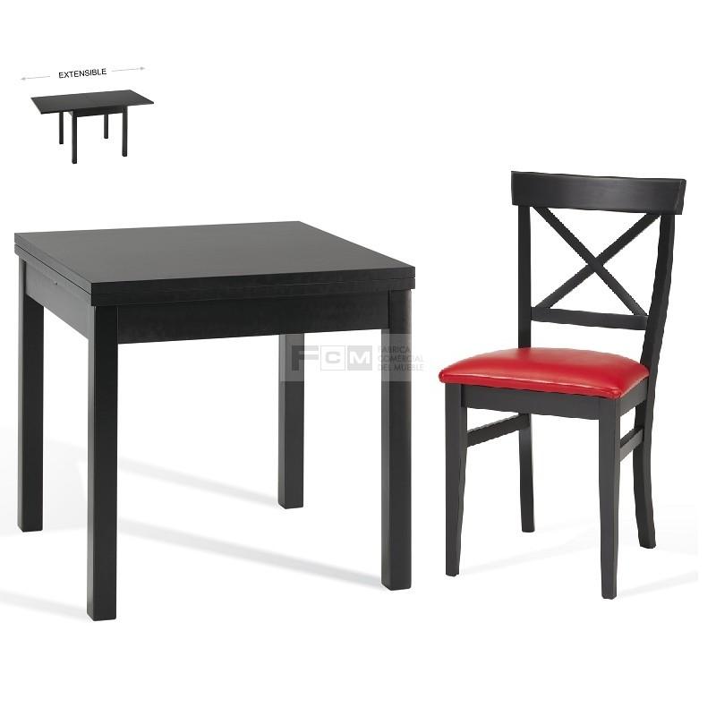 Conjunto mobiliario hosteler a mesa extensible de libro for Conjunto mesa extensible y sillas cocina