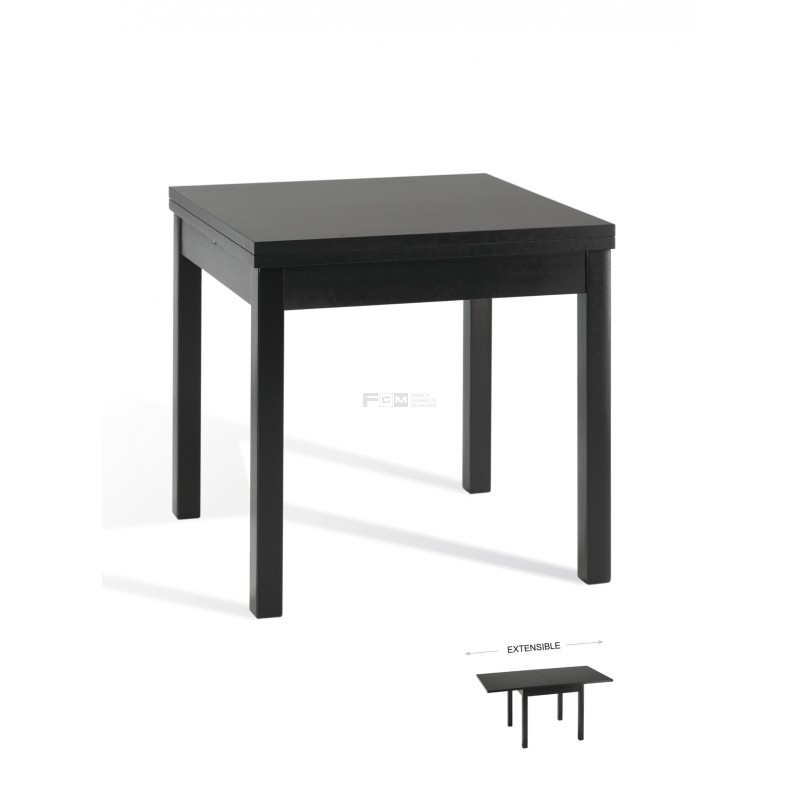 mesa de madera extensible para hostelería revestida en un color oscuro